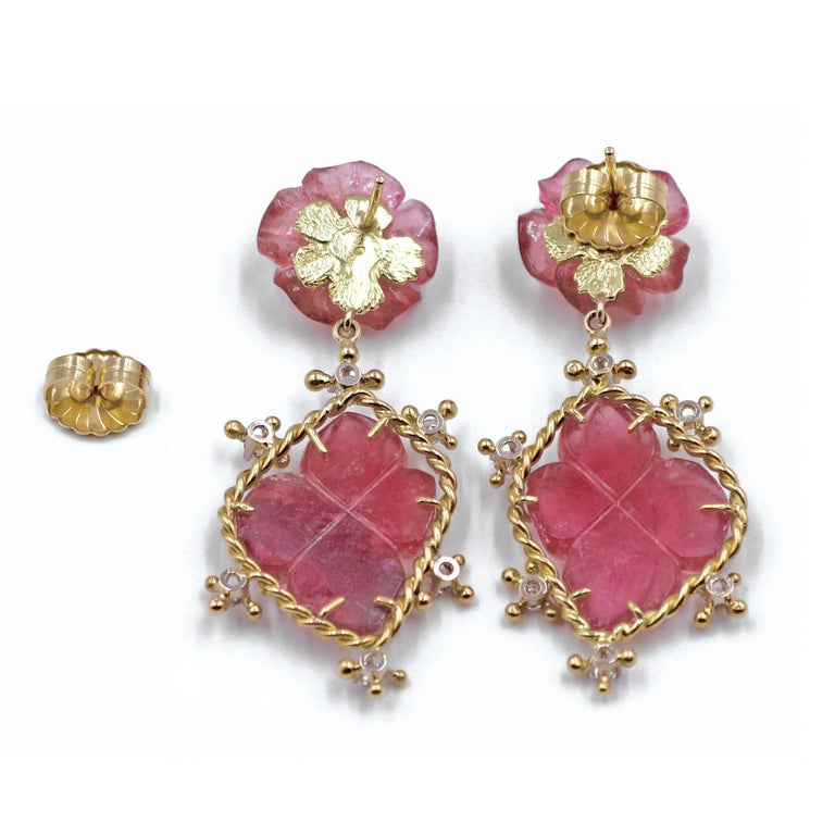 Artisan Russell Trusso Carved Pink Tourmaline White Diamond Flower Drop Earrings For Sale
