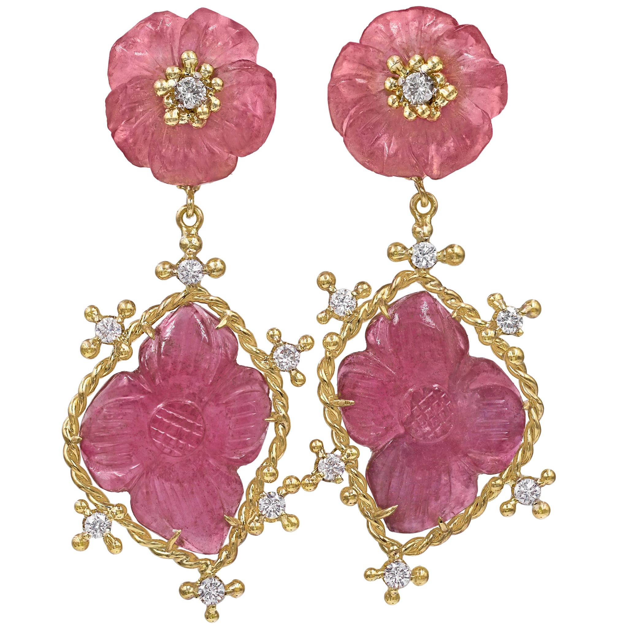 Russell Trusso Carved Pink Tourmaline White Diamond Flower Drop Earrings