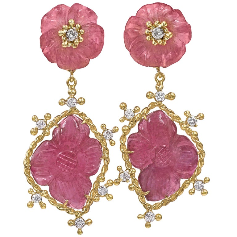 Russell Trusso Carved Pink Tourmaline White Diamond Flower Drop Earrings For Sale