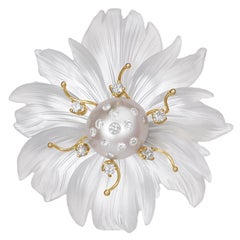 Russell Trusso Carved Rock Crystal White Diamond Pearl Flower Brooch Pendant