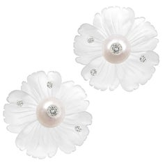 Russell Trusso Diamond Embedded Carved Rock Crystal Pearl Flower Stud Earrings