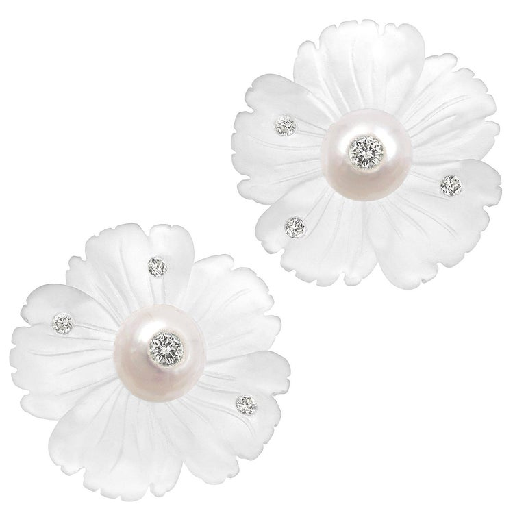 Russell Trusso Diamond Embedded Carved Rock Crystal Pearl Flower Stud Earrings For Sale