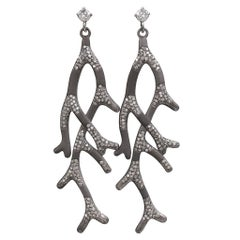 Russell Trusso Diamond Oxidized Silver Gold Branch Dangle Drop Earrings