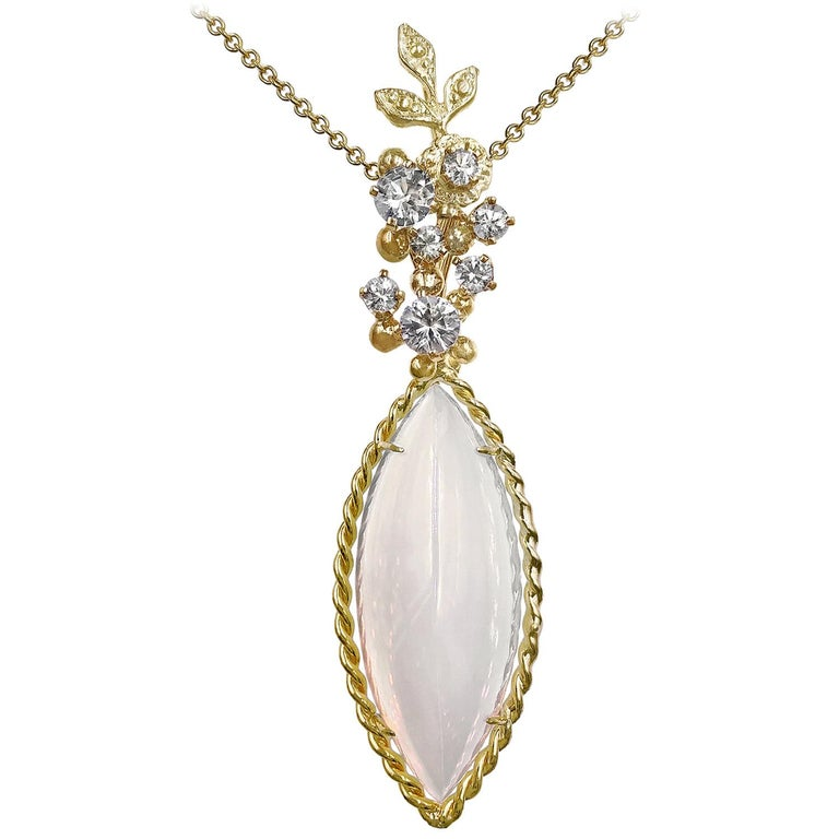 Russell Trusso Glowing Marquise Agate Chalcedony White Sapphire Gold Necklace For Sale