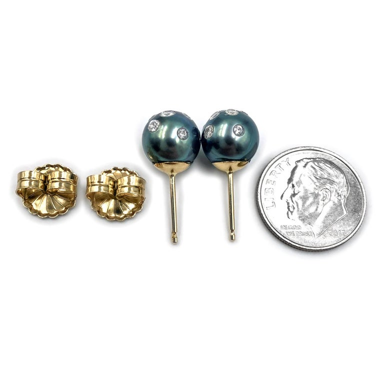 Artist Russell Trusso White Diamond Embedded Blue Tahitian Pearl Stud Earrings For Sale