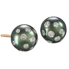Russell Trusso White Diamond Embedded Blue Tahitian Pearl Stud Earrings