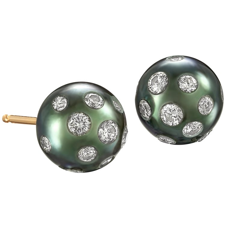 Russell Trusso White Diamond Embedded Blue Tahitian Pearl Stud Earrings For Sale