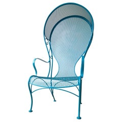 Russell Woodard Enameled Blue Lagoon Wrought Iron Patio Garden Canopy Armchair