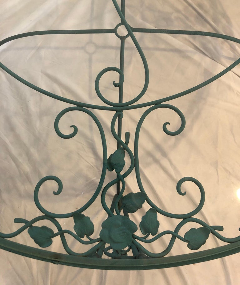 Mid-20th Century Russell Woodard Green Iron Dining Table and Four Chairs For Sale