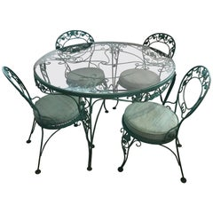 Russell Woodard Green Iron Dining Table and Four Chairs