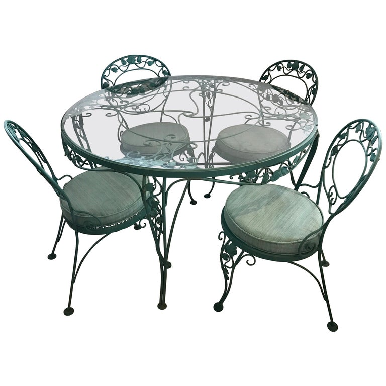 Dining Table With Chairs For Sale: Russell Woodard Green Iron Dining Table And Four Chairs
