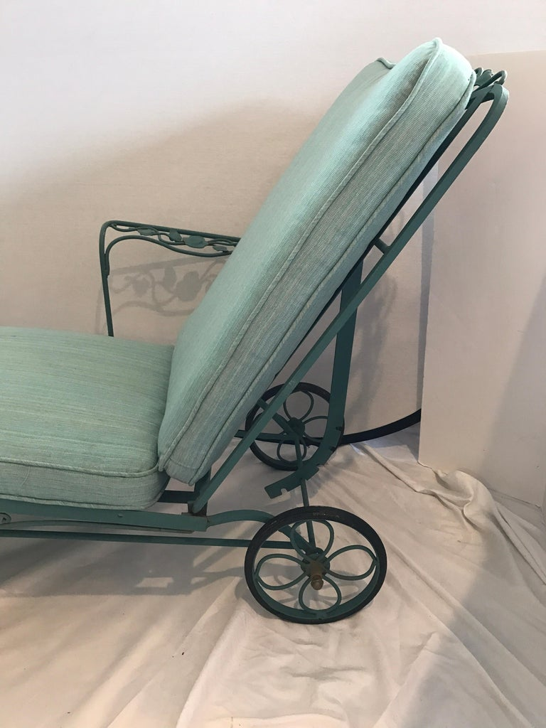 Russell Woodard Green Wrought Iron Chaise Longue Chair And