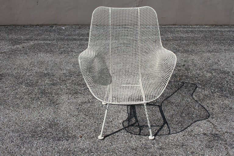 Mid-20th Century Russell Woodard Mid-Century Modern White Mesh Sculptura High Back Lounge Chair  For Sale