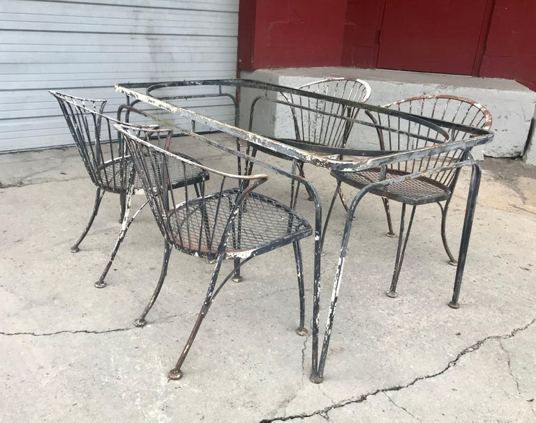 Mid-20th Century Russell Woodard Rare Set of 4 Klismos Chairs and Table For Sale