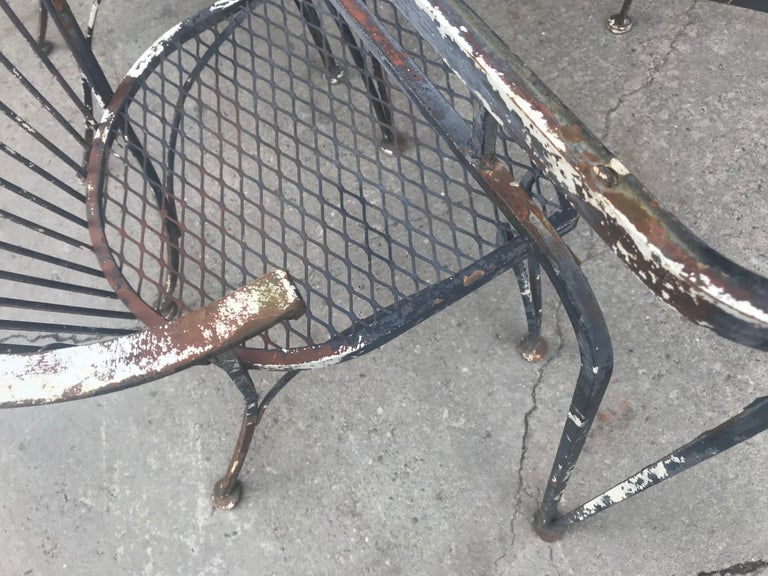 Iron Russell Woodard Rare Set of 4 Klismos Chairs and Table For Sale