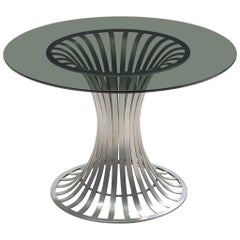 Russell Woodard Round Dining Table with Aluminium and Glass