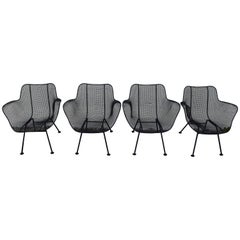 Russell Woodard Sculptura Wire Patio Chairs, Set of 4, Classic Black