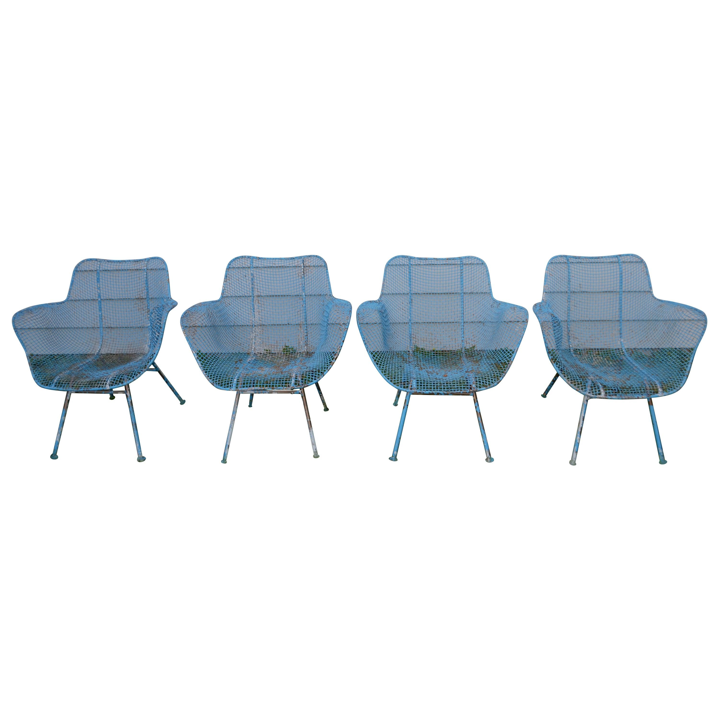Russell Woodard Sculptura Wire Patio Chairs Set Of 4 In As Found