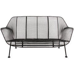 Russell Woodard Sculptura Wrought Iron Settee, Restored