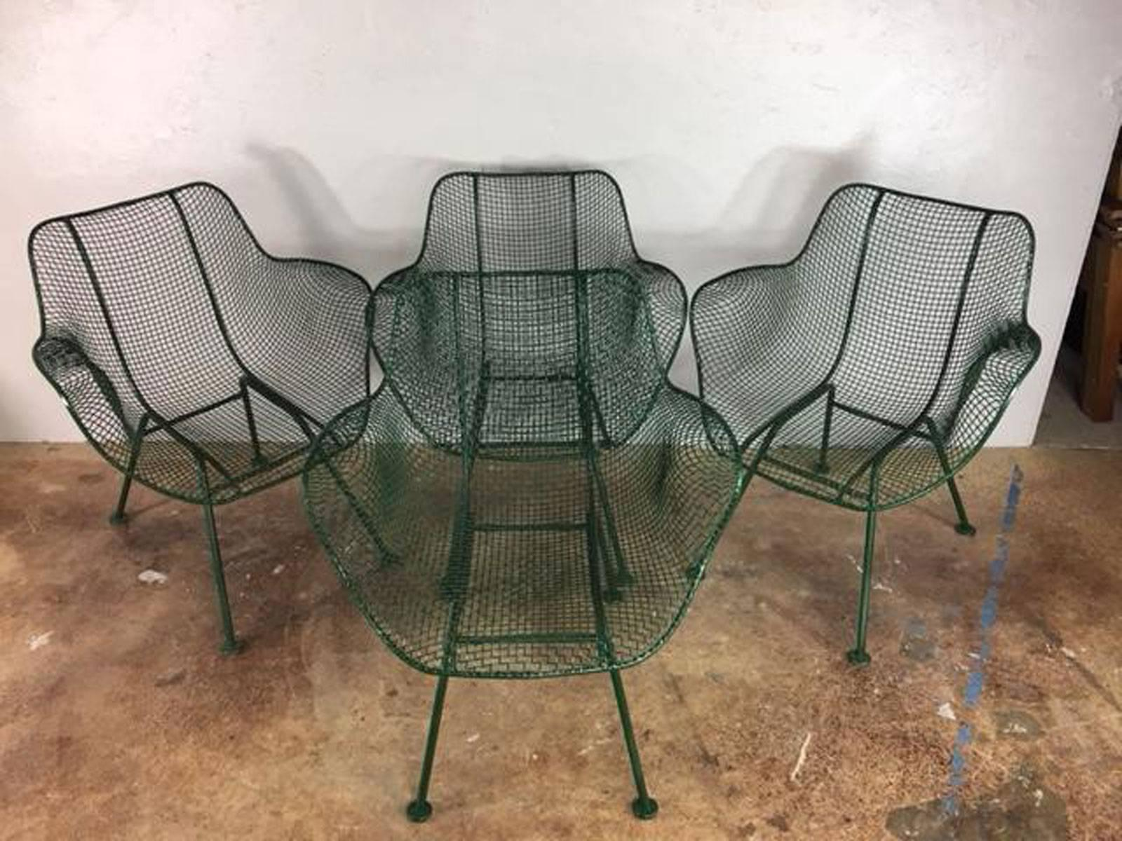 Exceptionnel Mid Century Modern Russell Woodard Sculpture Steel Patio Set For Sale