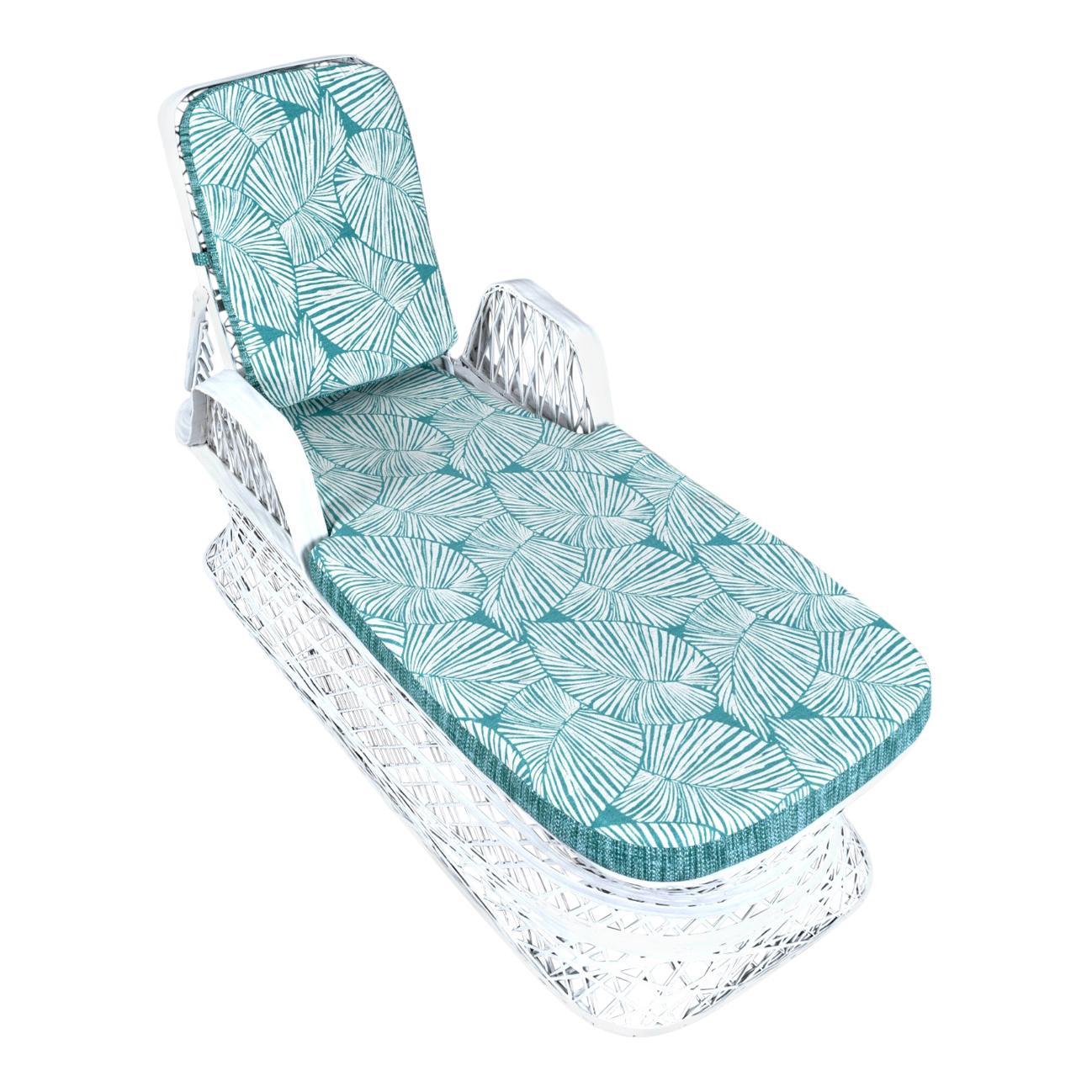 Russell Woodard Spun Fiberglass Outdoor Chaise Lounger with Reversible Cushions