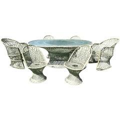 Russell Woodard Spun Fiberglass Six-Chair Dining Table Set