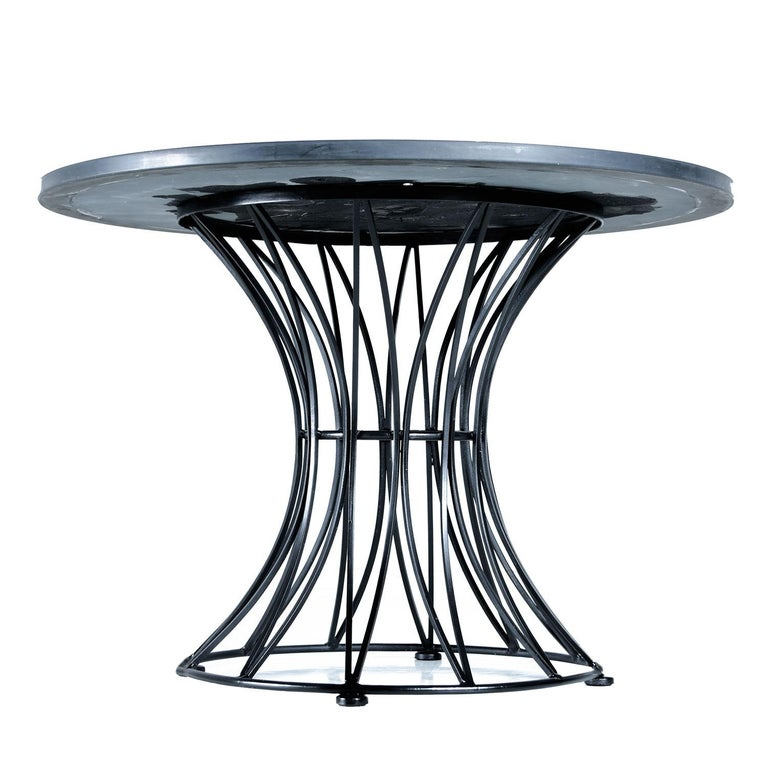 Russell Woodard Style Hourglass Metal Cage Slate Top