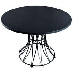 Russell Woodard Style Hourglass Metal Cage Slate Top Dining Table, 1960s