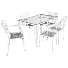 Russell Woodard Style Maple Leaf Garden Dining Table and Chairs Set