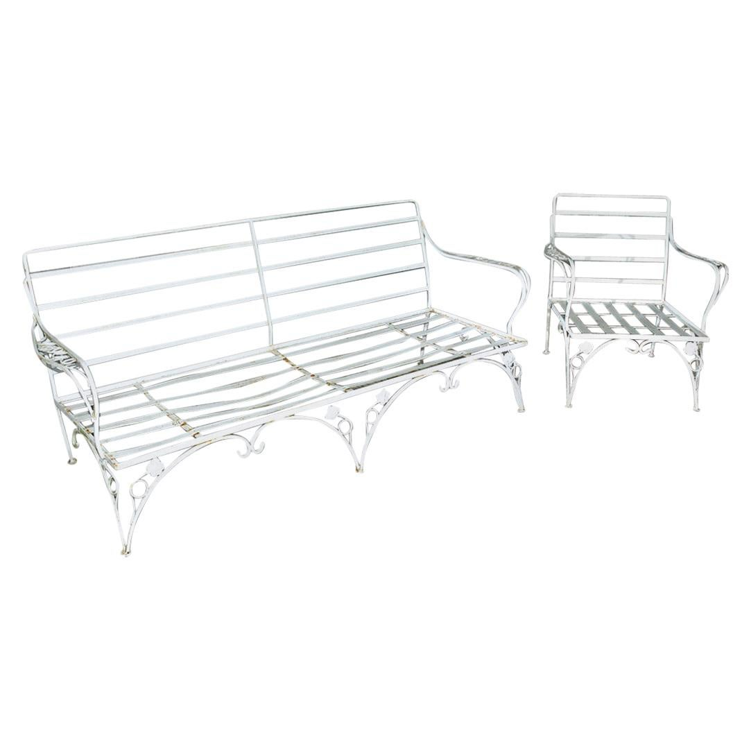 Russell Woodard Style Metal Garden or Porch Sofa with Matching Lounge Chair
