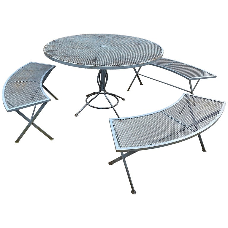 Russell Woodard Table and Bench Set