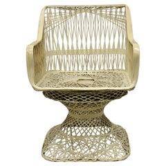 Russell Woodard Woven Spun Fiberglas MCM Swivel Seat Lounge Arm Dining Chair
