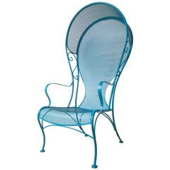 Russell Woodard Wrought Iron Canopy Patio Armchair in Newly Enameled Blue