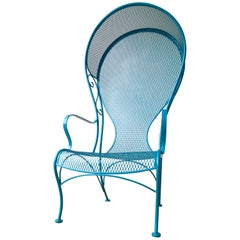 Russell Woodard Wrought Iron Canopy Patio Arm Chair Newly Painted Lagoon Blue