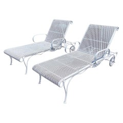 Russell Woodward Pair of White Chaise Lounges Longes Chairs Sculptura