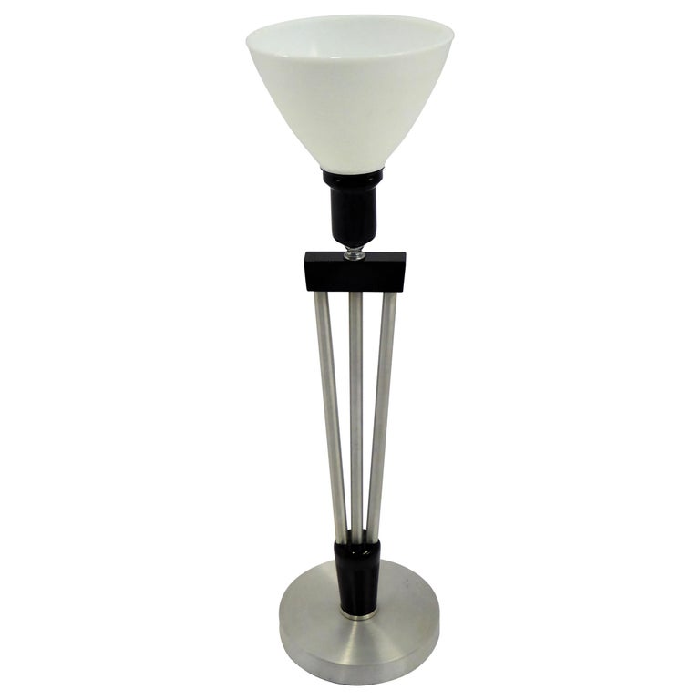 Russell Wright Spun Aluminum and Black Wood Table Lamp with Milk Glass Globe For Sale