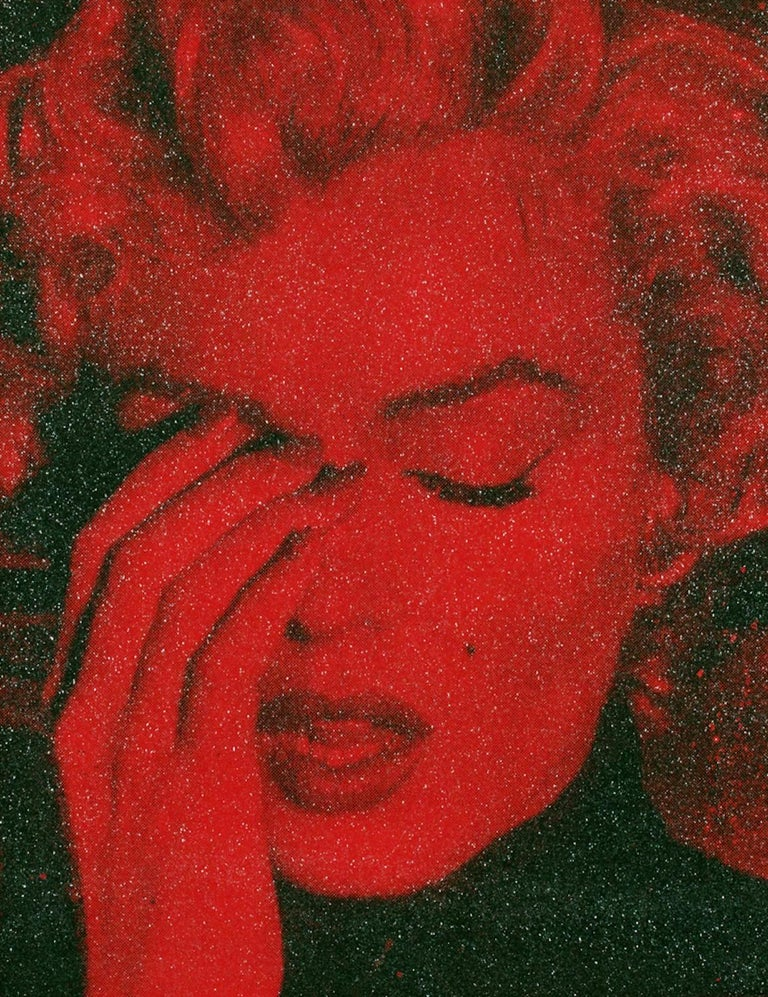 MARILYN CRYING - CALIFORNIA Blind Red Ltd Ed 3/4 - Mixed Media Art by Russell Young