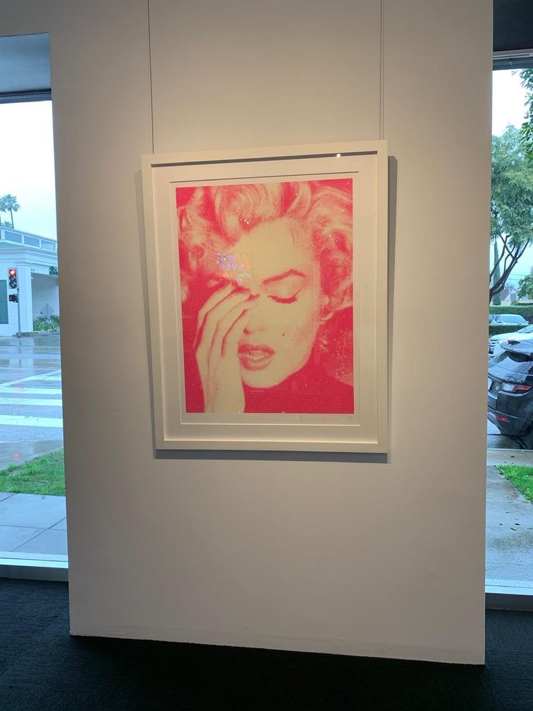 Marilyn Crying, Suicide Pink on Paper For Sale 3