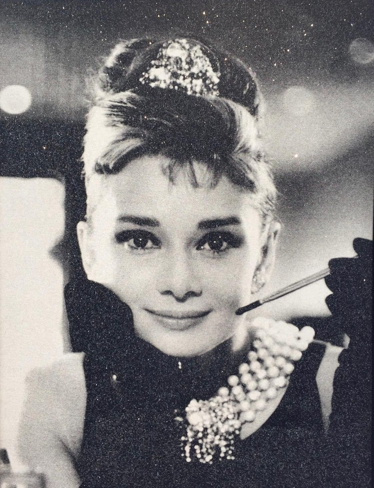 Russell Young Audrey Hepburn Black And White Painting For Sale