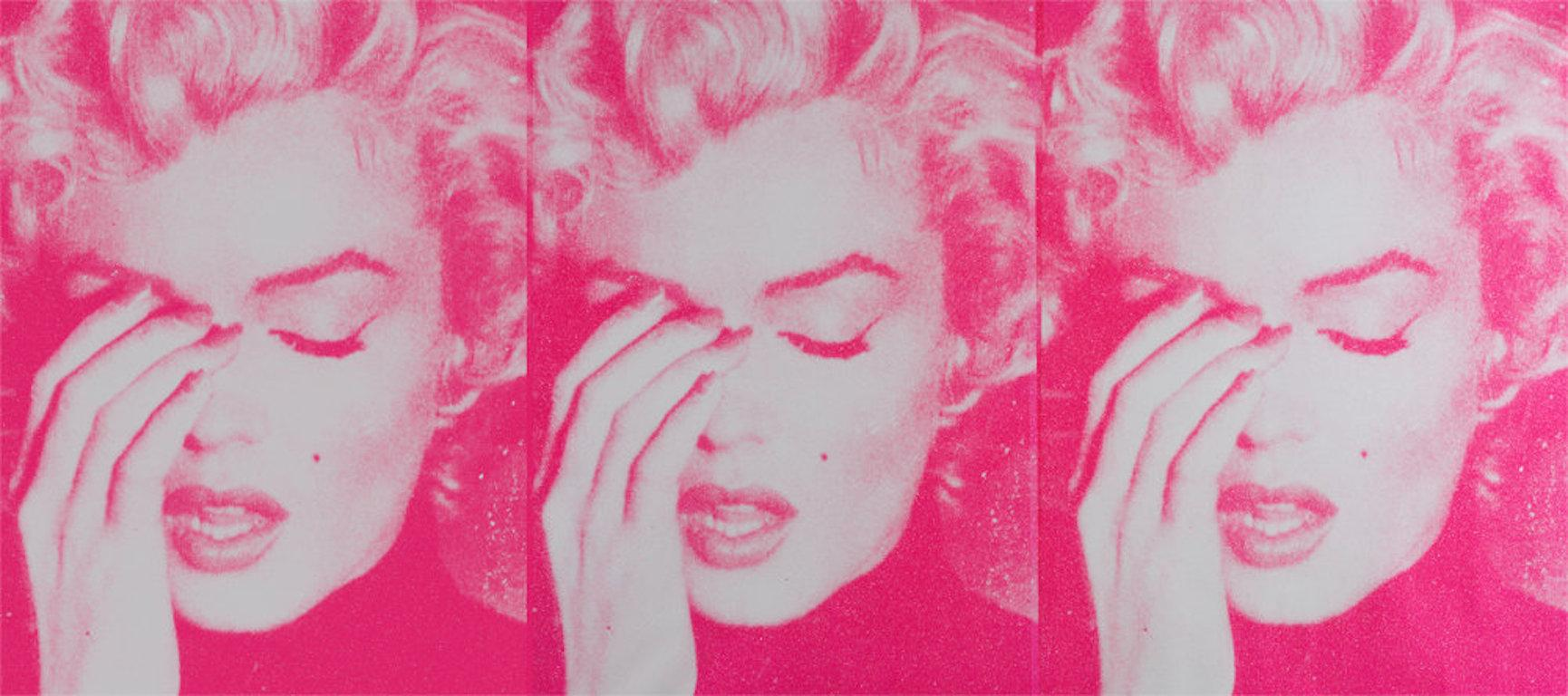 Marilyn Crying Triptych, White & Bondage Pink