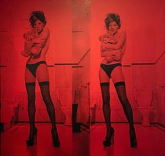 Kate Moss Diptych, Blind Red & Black