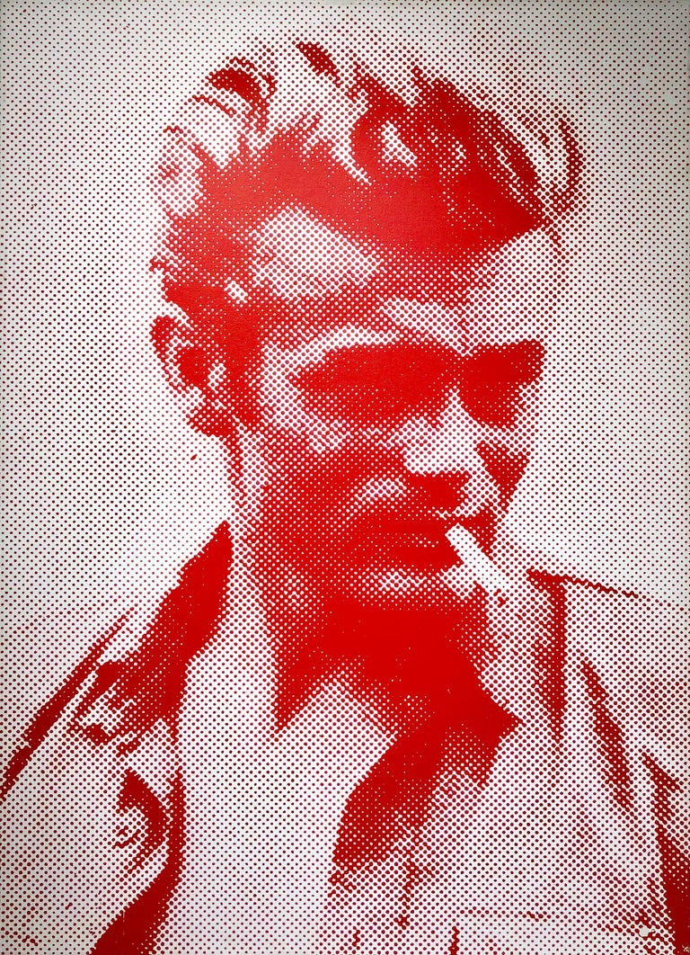 Russell Young Portrait Painting - James Dean (Red and White)