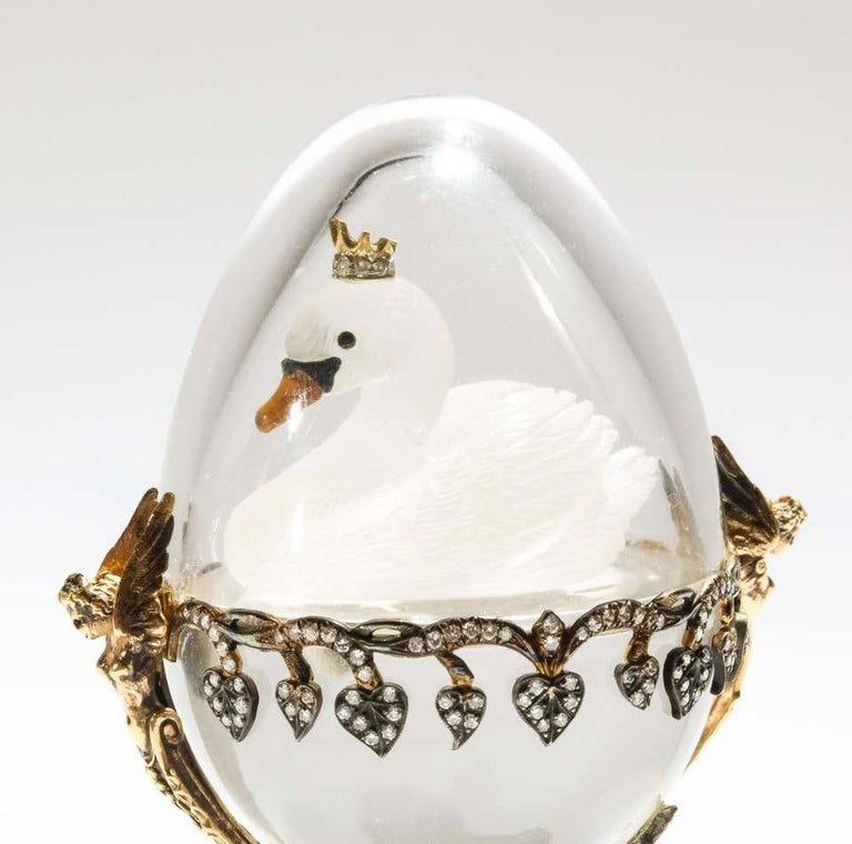 Russian 14 Karat Gold, Diamonds, Emeralds, Lapis Lazuli and Glass Egg with Swan In Good Condition For Sale In New York, NY