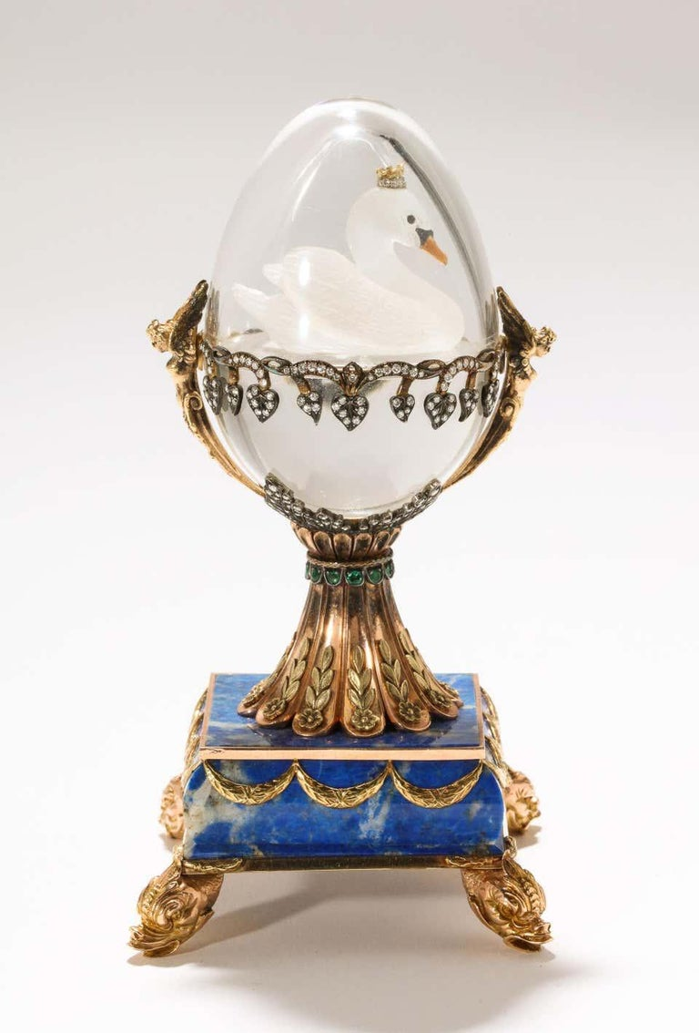 Russian 14 Karat Gold, Diamonds, Emeralds, Lapis Lazuli and Glass Egg with Swan For Sale 3