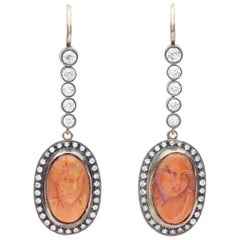 Russian 18 Karat Rose Gold, Diamond and Cameo Earrings