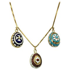 Russian 18 Karat Yellow Gold Enamel Egg Necklace