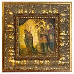 Russian 18th-19th Century Icon of Anastasis, Later Gitwood Frame