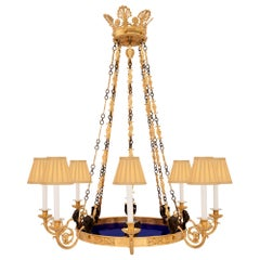 Russian 19th Century Neoclassical Style Bronze, Ormolu and Glass Chandelier