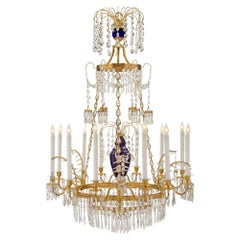 Russian 19th Century Neoclassical Style Glass, Crystal and Ormolu Chandelier