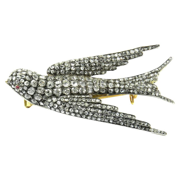 Russian 2.7 Carat Diamond and Ruby Swallow Brooch, Moscow, circa 1890 For Sale